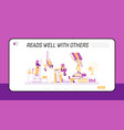 tiny characters on shelf with huge books landing vector image vector image