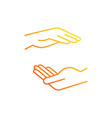 two hands holding something gradient linear icon vector image