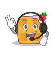 Waffle character cartoon design with headphone vector image