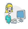 woman with phone at computer vector image vector image