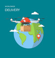 worldwide drone delivery in vector image vector image