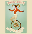 zodiac circus aries sign tightrope walker wearing vector image