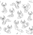 Seamless pattern with cartoon contour cats vector image