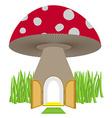 Mushroom with door open Amanita House for a dwarf vector image