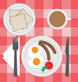 American breakfast set on the table Fried egg Sa vector image