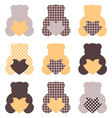 Cute teddy bear set isolated on white vector image