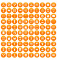 100 business icons set orange vector image vector image