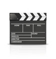 3d realistic blank closed movie film clap vector image