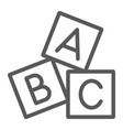 alphabet cubes line icon abc and toy vector image vector image