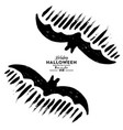 bat silhouette decoration for halloween scary vector image