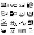 big data computer and cloud computing web icons vector image vector image