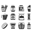 Black icons collection of sports nutrition vector image