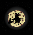 black silhouette of witch on broom with cat vector image