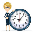 business woman holding clock time to work vector image vector image