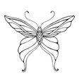 butterfly graceful decorative coloring page vector image