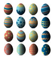 cartoon colorful easter eggs with patterns vector image