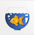 cartoon exotic goldfish in trendy paper cut craft vector image vector image