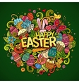 Cartoon hand drawn Doodle Happy Easter vector image vector image