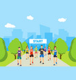 cartoon marathon runners on track in park card vector image vector image