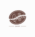 coffee bean aroma logo on white background vector image vector image
