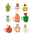 collection cute animals in teacups adorable vector image vector image