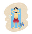 conceptual flat banner person on weekends isolated vector image vector image