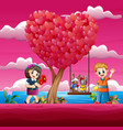 couple love rabbit stand on the swing under the tr vector image vector image
