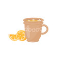 cup of tea with small flowers and sweet lemon vector image vector image