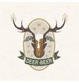 deer beer negative space concept grunge label vector image vector image