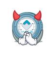 devil waves coin mascot cartoon vector image vector image