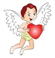 fairyboy holding a red heart vector image