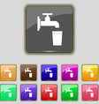 faucet glass water icon sign Set with eleven vector image