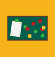 flat blackboard with post it notes vector image