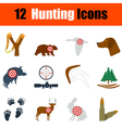 Flat design hunting icon set vector image vector image