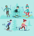 flat of people skiing vector image vector image