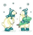 Funny polar bears vector image