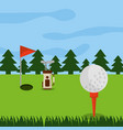 golf course hole flag ball and pine tree forest vector image vector image
