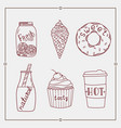 hand drawn summer desserts and drink elements vector image