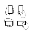 hand holds a smart phone in vertical and vector image vector image