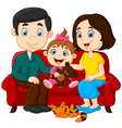 Happy family sitting on the red sofa vector image vector image