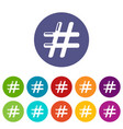 hashtag icons set color vector image