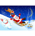 Jolly Santa Claus coming down the hill on a sled vector image vector image