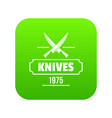 knife icon green vector image