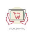 Line internet shopping concept - browser window vector image vector image