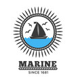 marine symbol sailboat in sea and gulls isolated vector image vector image
