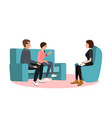 married couple on sofa and woman psychologist or vector image