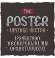 original label typeface named poster vector image