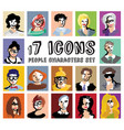 people characters avatars icons set vector image vector image