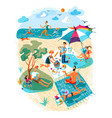 people rest during picnic on beach set vector image vector image