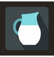 Pitcher of milk icon in flat style vector image vector image